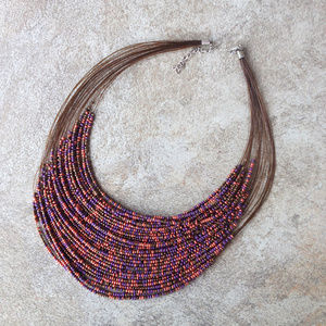 Vintage Multi-Strand Micro Bead Bib Necklace